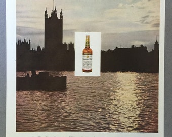 1959 Hiram Walker Print Ad - Canadian Club Whisky - London - Houses of Parliament