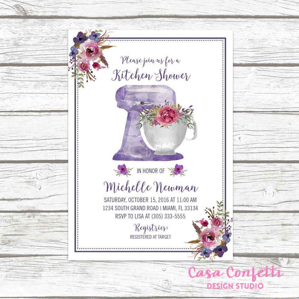 Kitchen Bridal Shower Kitchen Bridal Shower Invitation Purple Bridal Shower Invitation