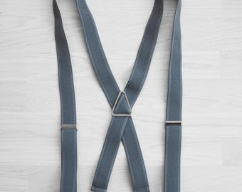 Grey clip on suspenders, Men's clip braces, Gray wedding groomsmen suspenders, Silver clips braces