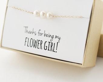 Flower Girl Gift - Flower Girl Bracelet - Thanks for being my flower girl - White Freshwater Pearl Gold Bracelet - Real Pearl Bracelet