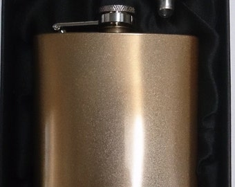 6oz Gold Coloured Stainless Steel Hip Flask & Funnel Gift Set