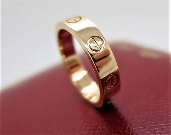 Size 49 ~ CARTIER LOVE RING ~ Rose Gold 4mm