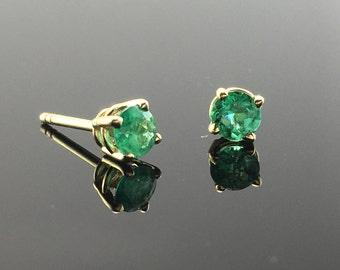 Yellow Gold and Emerald Stud Earrings- 14K Yellow Gold Round Emerald Stud Earrings- Natural Emerald Earrings- 4 Prong Set Stud Earrings