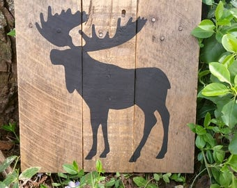 Rustic Moose Pallet Sign