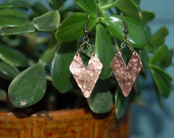 Hammered copper chevron dangle earrings