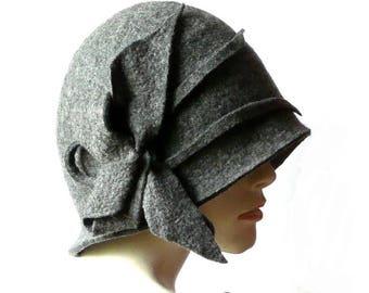 Grey Felted  Hat felt hat Cloche Hat Fapper 1920 Hat Art  Gray Hat Cloche Victorian 1920's  Wool Women's hat
