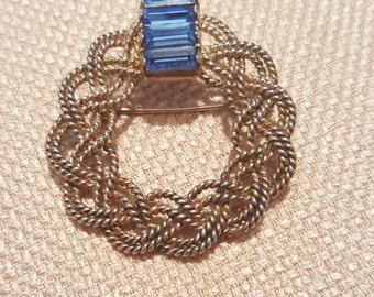 Vintage Napier Sterling silver Blue Rhinestone Pin Brooch