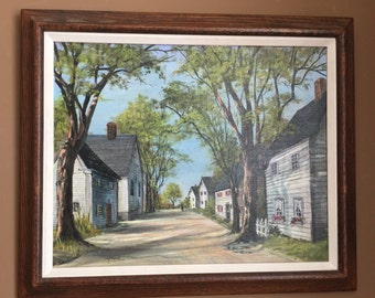 Original Oil Painting by Sally Millspaugh Houses on an Unpaved Street