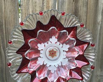 "Christmas Plate Flower, Vintage Glass, Garden Decor""Sugar Plum"""