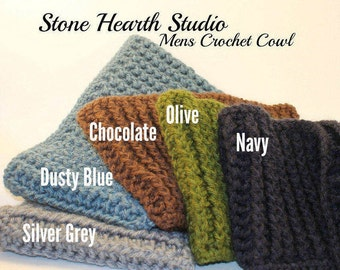 Mens Winter Cowl,Boys Winter Cowl,Order Your Color of Choice!,Handmade,Crochet Cowl,Great Gift for the Man in Your Life!,Medium Weight Yarn