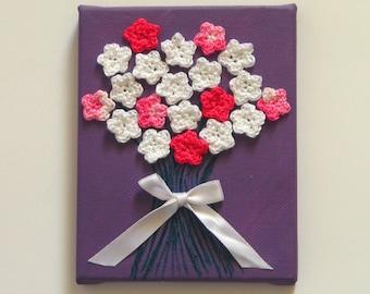 Crochet Canvas Art/Crochet Flower Bouquet/Crochet Floral/Mixed Media Art/Crochet Home Decor/Tiny Canvas Painting/Acrylic Painting