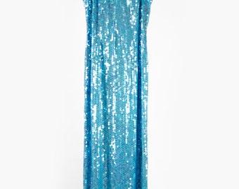 Beautiful vintage mermaid blue long sequin dress