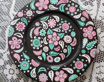 Hand Painted Wood Plate Doodle Paisley Black Pink Green White