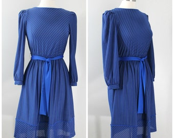 Vintage 70s Just Ducky Blue Striped Elastic Waist Belted Dress Size 8
