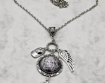 Family don't end with blood Supernatural Fandom Fangirl SPN  handmade fashion jewelry Necklace Pendant Bobby wing Angelwing pentagram