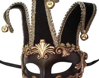 Venetian Black & Gold Jester Masquerade Mask U147