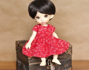 Red Calico Dress for Pukifee and Lati Yellow Clothes || Tiny BJD Doll Dress for Lati Yellow & Pukifee in Red Calico Print
