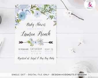Blue Baby Shower Invitation, Boy, Printable, Shabby Chic [247c]