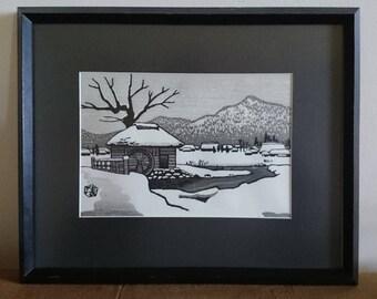 Rare and Desirable Gihachiro Okuyama Woodcut Print/ Japanese/ Snowy Village/Japanese Woodcut Print