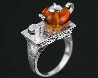 High Tea 925 Sterling Silver Ring in Oriental Style with Natural Amber Stone