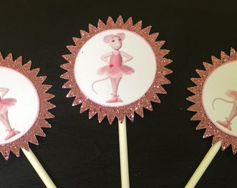 Glitter Angelina Ballerina Cupcake Toppers