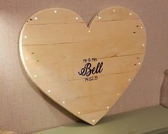 Light Up Guest Book Board, Wedding, Rustic, Fairy Lights