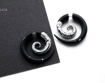 Spiral fake gauge earrings black silver fake plugs fake gauges