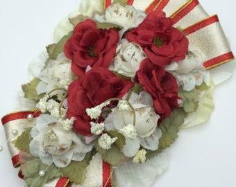 Handmade Vintage Style Ribbon & Rose Hair Clip
