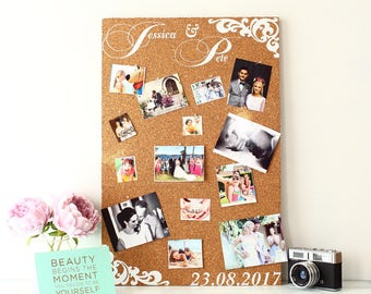 Wedding cork board photo display Photo Booth Personalised  guestbook party re-usable Your details professionally printed into cork