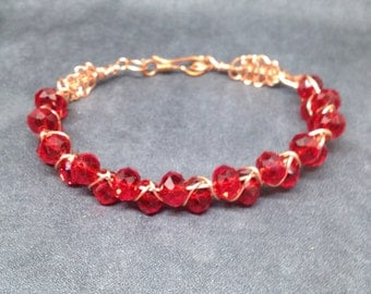 Wire Wrapped Jewelry, Copper Wire Bracelet, Goddess Bracelet, Plus Size Wrap, Gift for Mom, Gift for her, Graduation Gift, Red Glass Beads,
