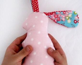 Pink Rabbit Rattle/ Baby shower gift/ Baby girl toy/ Stuffed toy bunny/ rabbit stuffed toy/ Baby safe/ Bunny plush toy/ Rabbit plush toy