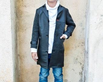 Boys wool coat/Long black coat/Faux leather coat/Kids classic coat/Toddler boy leather coat/Long winter coats/Long coat/Kids warm coat