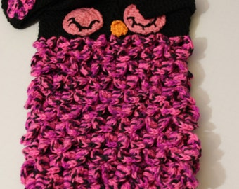 owl baby cocoon with matching cap, hot pink/black for baby girl