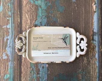 SALE/Shabby Chic Business Card Holder/Boss Gift/Office Decor/Desk/Card Holder/Gift Idea/Business/Office/Shabby Chic business card holder