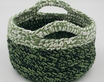 Crocheted Basket, Storage Basket, Decorative Basket, Organizer Basket, Crochet Basket with Handles, Gift Basket, Cotton Crochet Basket
