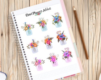 Mason Jar of Flowers Planner Stickers | Floral Stickers | Mason Jar Stickers | Flowers (S-254)