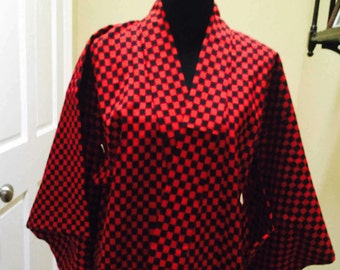 Red & Black Wool Kimono Vintage