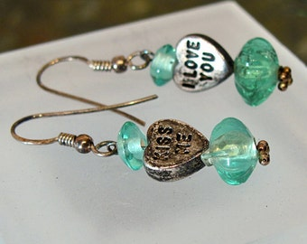 "Valentine Earrings ~ Candy Heart Dangle Earrings with Sea Green Glass Beads ~ ""I love you"" and ""Kiss me"" - Sterling Silver"