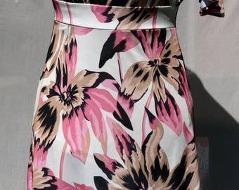 Tropical pink flower dress - Hand Made - Made in France