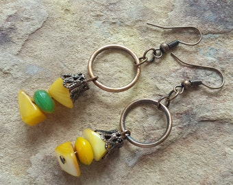 Funky earrings yellow earrings green copper dangles bohemian earrings beaded earrings handmade earrings holiday earrings gift girl teen gift