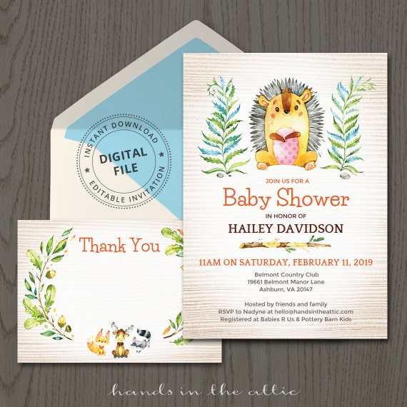 Woodland animals baby shower invitations hedgehog cute porcupine il570xn filmwisefo