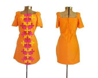 Mod Dress Orange Dress 1960s Dress 60s Dress Eddy George California Boho Dress Boho Chic Hippie Chic Retro Dress Size 8 Medium Large Dress