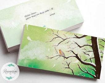 Greeting card, Illustrated card, Birthday card, Robin, Bird card, Anniversary, Thank you, Congratulation, Note card