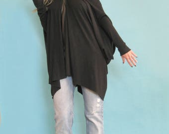 Oversize black tunic, Maxi top, Loose top, Plus size tunic, Long top, Off shoulders top, Casual top, Long sleeve top