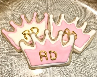 Pink, White and Gold Crowns, Princess, Sugar Cookies, Prince, Monogramed