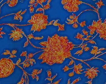 """Dress Fabric, Floral Print, Blue Fabric, Home Accessories, Sewing Fabric, Rayon Fabric, 42"""" Inch Fabric By The Yard ZBR315A"""