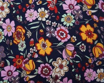 """Dressmaking Fabric, Floral Print, Navy Blue Fabric, Sewing Crafts, Upholstery Fabric, 60"""" Inch Rayon Fabric By The Yard ZBR250C"""