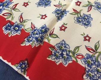 Vintage SILK Handkerchief, FREE SHIPPING 1970s Red White Blue Forget-Me-Nots Floral Hankie Bridesmaid Wedding Patriotic 4th of July Gift
