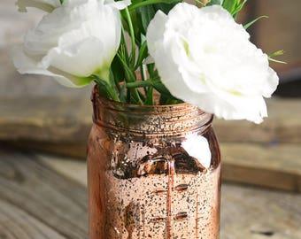 "Rose Gold Mercury Glass Mason Jar 6.5"""