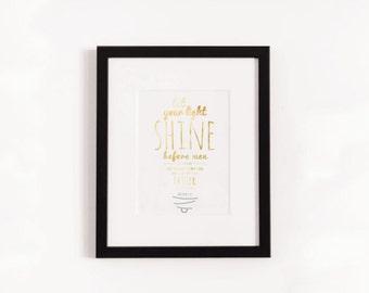 Let Your Light Shine Print // Matthew 5:16 Wall Art, Bible Verse Art, Wall Art, Christian Wall Art, Bible Verse Decor, Instant Download